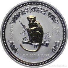 Monedas antiguas de Asia: AUSTRALIA - 1 DOLAR PLATA PURA PROOF 2004 AÑO DEL MONO CHINO. Lote 194212101