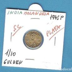 Monedas antiguas de Asia: PLATA-INDIAS HOLANDESAS 1/10 GULDEN 1945-P. 1,25 GRAMOS DE LEY 0,720. Lote 194497135