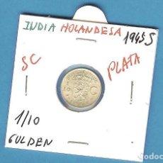 Monedas antiguas de Asia: PLATA-INDIAS HOLANDESAS 1/10 GULDEN 1945-S. 1,25 GRAMOS DE LEY 0,720. Lote 194497718