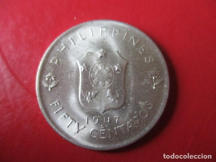 Monedas antiguas de Asia: Filipinas. moneda de 5 centavos de plata. 1947 - Foto 2 - 194517991
