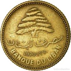 Monedas antiguas de Asia: MONEDA, LÍBANO, 5 PIASTRES, 1970, MBC, NÍQUEL - LATÓN, KM:25.1. Lote 195442690