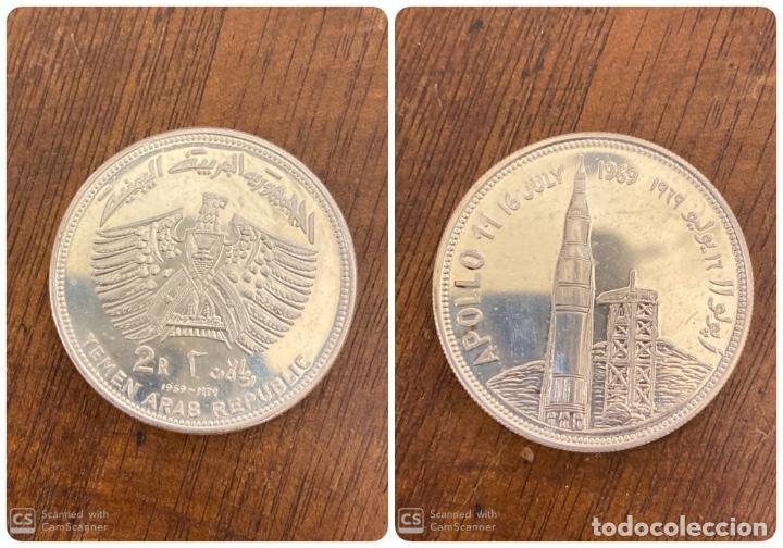 MONEDA. YEMEN. 2 RIAL. APOLLO 11. 1979. PLATA. S/C. VER FOTOS. (Numismática - Extranjeras - Asia)