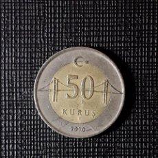 Monedas antiguas de Asia: TURQUIA 50 KURUS 2010 KM1243. Lote 196940621