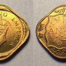 Monedas antiguas de Asia: INDIA BRITANICA - 1/2 ANNA - 1946 - NIQUEL/BRONCE - ESCASA - E.B.C++. Lote 197030275