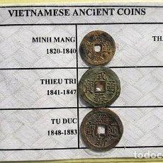 Monedas antiguas de Asia: 6 MONEDAS VIETNAMITAS DE DIFERENTES DINASTÍAS ENTRE 1820 Y 1945.. Lote 197760526