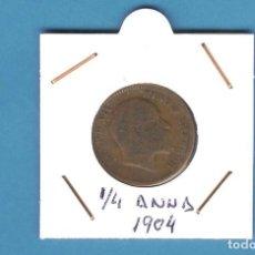 Monedas antiguas de Asia: INDIA BRITÁNICA. 1/4 ANNA 1904. COBRE. EDUARDO VII. KM#501. Lote 201585486