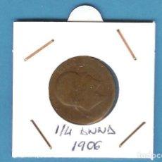 Monedas antiguas de Asia: INDIA BRITÁNICA. 1/4 ANNA 1906. COBRE. EDUARDO VII. KM#501. Lote 201586650