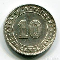 Monedas antiguas de Asia: STRAITS SETTLEMENTS (ESTADOS DEL ESTRECHO) - MALASIA - 10 CENTAVOS DE PLATA 1919. Lote 205144121