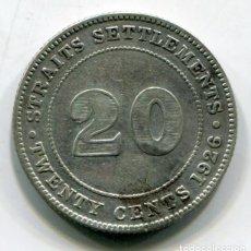 Monedas antiguas de Asia: STRAITS SETTLEMENTS (ESTADOS DEL ESTRECHO) - MALASIA - 20 CENTAVOS DE PLATA 1926. Lote 205144361