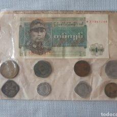 Monedas antiguas de Asia: CARPETA CON BILLETE DE 1 KYAT Y 8 MONEDAS DE MYANMAR-BIRMANIA. Lote 205565501