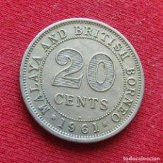 Monedas antiguas de Asia: MALAYA Y BORNEO BRITÁNICO 20 CENT 1961 H BRITISH MALAYSIA. Lote 205867097