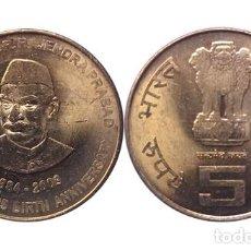 Monedas antiguas de Asia: INDIA 5 RUPIAS 125 ANIVERSARIO DEL NACIMIENTO DEL DR.RAJENDRA PRASAD, 2009. Lote 206306478
