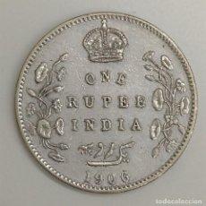 Monedas antiguas de Asia: 1906 INDIA BRITANICA - 1 RUPIA - EDUARDO VII - EBC. Lote 207021735