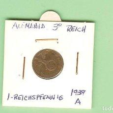 Monedas antiguas de Asia: ALEMANIA. TERCER REICH. 1 REICHSPFENNIG 1939-A. COBRE. KM#89. Lote 210360246