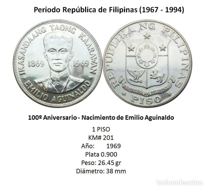 Monedas antiguas de Asia: BONITA - MONEDA FILIPINAS - PISO 1969, NAC EMILIO AGUINALDO, PLATA - Foto 2 - 210482465