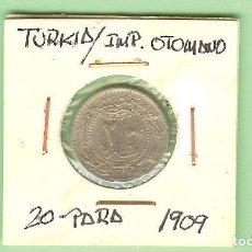 Monedas antiguas de Asia: TURKIA/IMPERIO OTOMANO. 20 PARA 1909. NÍQUEL, KM,#761. Lote 211836946