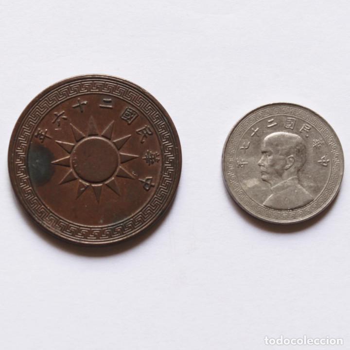 WWII 10 CENTS DE 1937 + 5 CENTS DE 1938 DE LA REP. DE CHINA (Numismática - Extranjeras - Asia)