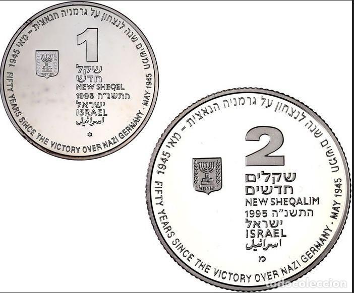 Monedas antiguas de Asia: Nazi Derrota Israel - 1 y 2 Sheqel 1995(lote de 2 monedas) - Plata SC (Sin circular) - Foto 2 - 213315113
