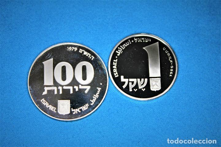 ISRAEL - 100-1 1979-1980 - DOS ESTUCHES DEL GOBIERNO DE ISRAEL, PLATA. IL 100 PROOF- 1 SHEQEL PROOF (Numismática - Extranjeras - Asia)