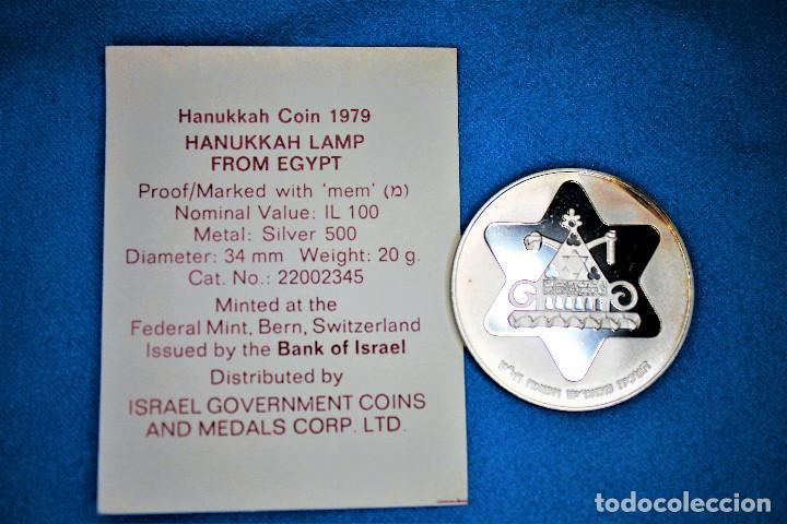 Monedas antiguas de Asia: Israel - 100-1 1979-1980 - Dos estuches del Gobierno de Israel, plata. IL 100 Proof- 1 Sheqel Proof - Foto 8 - 216625432