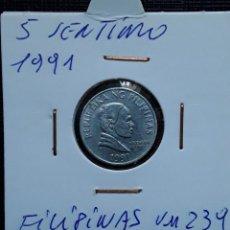 Monedas antiguas de Asia: FILIPINAS 5 SENTIMO 1991 KM239. Lote 217378123