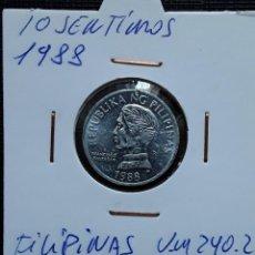 Monete antiche di Asia: FILIPINAS 10 SENTIMO 1988 KM240.2. Lote 217378345