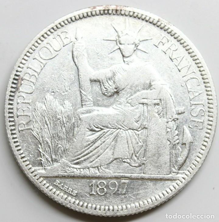 MONEDA FRANCIA INDO CHINA 1897 A 1 PIASTRE PLATA (Numismática - Extranjeras - Asia)
