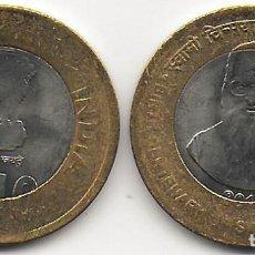Monedas antiguas de Asia: INDIA 10 RUPIAS 2015 BIMETÁLICA SWAMI CHINMAYANANDA KM#434 SC. Lote 243869080