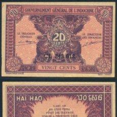 Monedas antiguas de Asia: BILLETE INDOCHINA - 20 CENTS - 1942 - E.B.C. - ESCASO. Lote 220231727