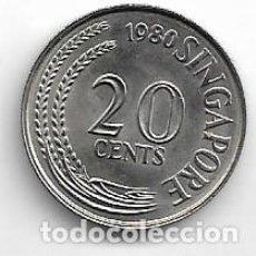 Monedas antiguas de Asia: SINGAPUR,20 CENTS 1980.. Lote 220997751