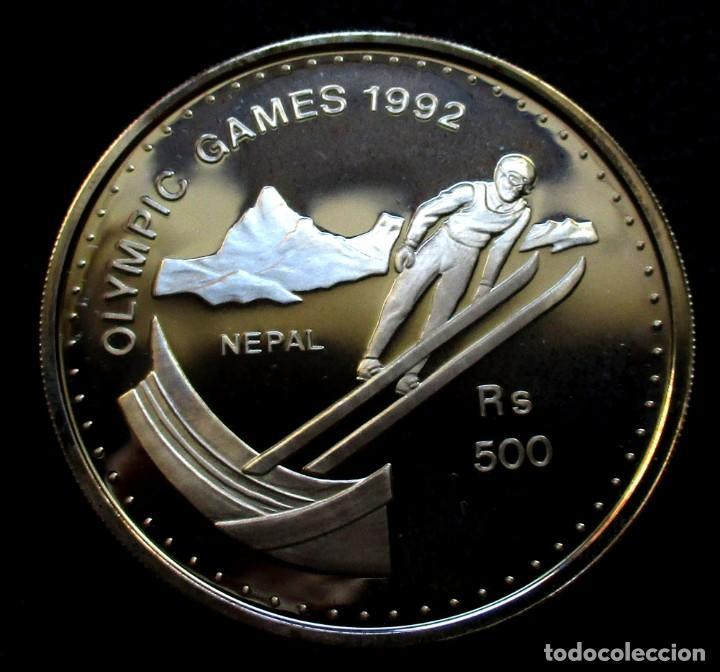 NEPAL 500 RUPIAS 1992 -JJOO INVIERNO -ALBERTVILLE-92- -PLATA- (Numismática - Extranjeras - Asia)