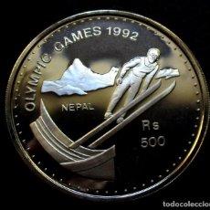 Monedas antiguas de Asia: NEPAL 500 RUPIAS 1992 -JJOO INVIERNO -ALBERTVILLE-92- -PLATA-. Lote 222478607