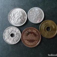 Monedas antiguas de Asia: CONJUNTO DE 5 MONEDAS DE JAPON DIVERSOS VALORES. Lote 222840841
