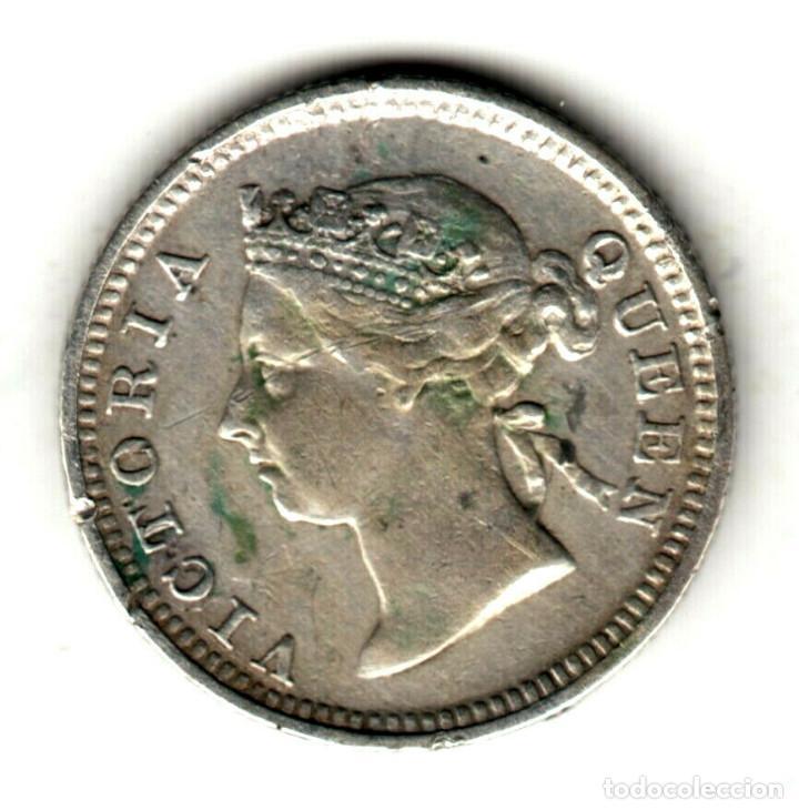 COLONIAS DEL ESTRECHO (STRAITS SETTLEMENTS) 5 CENT PLATA 1889 REINA VICTORIA (Numismática - Extranjeras - Asia)