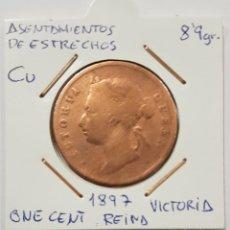 Monedas antiguas de Asia: ASENTAMIENTOS DE ESTRECHOS, ONE CENT, REINA VICTORIA, DE 1897. ORIGINAL.. Lote 234387885