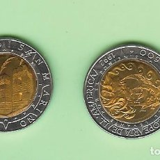 Monedas antiguas de Asia: SAN MARINO. 500 LIRAS 1992 DESCUBRIMIENTO DE AMERICA. BIMETÁLICA. KM#286. Lote 246665900