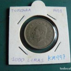 Monedas antiguas de Asia: MONEDA DE TURQUIA 1000 LIRAS 1991. Lote 236112900