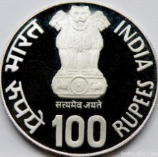 Monedas antiguas de Asia: INDIA 100 RUPIAS 1981. PLATA PROOF. MUY ESCASA. Lote 236141770