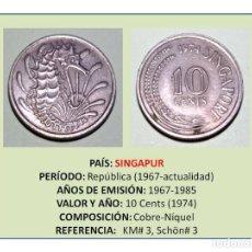 Monedas antiguas de Asia: MONEDA DE 10 CENTS (1974) DE SINGAPUR. Lote 236405125