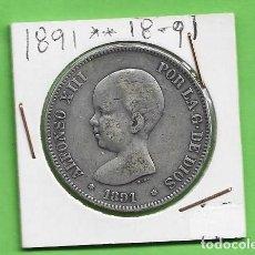 Monedas antiguas de Asia: PLATA-ESPAÑA 5 PESETAS 1888 PGM. ALFONSO XIII. Lote 238077920