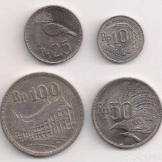 Monedas antiguas de Asia: INDONESIA - SERIE 4 MONEDAS 1971/1973 - 10-25-50-100 RUPIAS - KMS#33-34-35-36. Lote 266967134