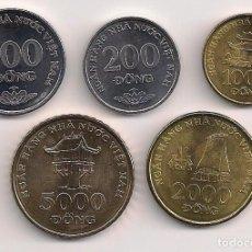 Monedas antiguas de Asia: VIETNAM - SERIE 5 MONEDAS 2003 SIN CIRCULAR - 200-500-1000-2000-5000 DONG - KMS#71-74-72-75-73. Lote 242996815