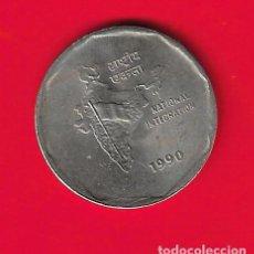 Moedas antigas da Ásia: INDIA 2 RUPIAS 1990, INTEGRACION NACIONAL. Lote 243295575