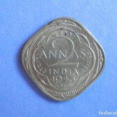 Monedas antiguas de Asia: INDIA BRITÁNICA 2 ANNAS AÑO 1943 CONSERVACIÓN: MBC. Lote 244612630