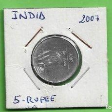 Monedas antiguas de Asia: INDIA 5 RUPEES 2007. ACERO INOXIDABLE. KM#330. Lote 244744345