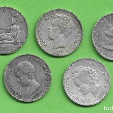 Monedas antiguas de Asia: PLATA-ESPAÑA 5 MONEDAS DE 5 PESETAS DE 5 MODELOS DIFERENTES. Lote 246141485