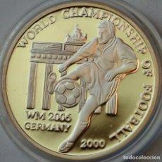 Monedas antiguas de Asia: COREA DEL NORTE 2 WON 2000 PLATA PROOF CONMEMORATIVA A MUNDIAL DE FÚTBOL ALEMANIA 2006. Lote 246361810