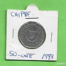 Monedas antiguas de Asia: CHIPRE. 50 CENT 1993. CUPRONÍQUEL. KM#66. Lote 248489305