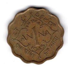 Monedas antiguas de Asia: INDIA BRITANICA K;537A 1 ANNA 1945 XF-AU LINDA PIEZA COLONIAL. Lote 251710735