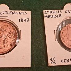 Monedas antiguas de Asia: 2 MONEDAS DE MALASIA, 1 CENT DE 1897 Y 1/2 CENT 1889. Lote 248563435
